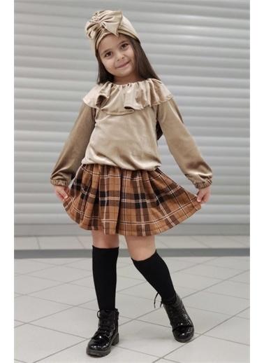 Riccotarz Kız Çocuk Bej Kadife Pileli Etekli Takım Renkli